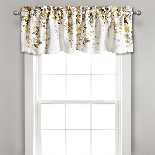 Lush Decor Weeping Flowers Yellow and Gray Valance Curtain for Windows, Yellow & Gray