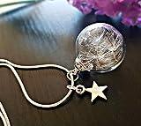 Argent massif 925 Collier de pissenlit Avec breloque d'étoile - BOITE CADEAU Dent de lion Petite Pendentif en verre...