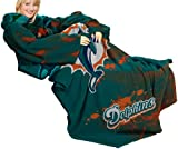 NFL Miami Dolphins Comfy Throw, Blanket with Sleeves, 'Smoke' Design