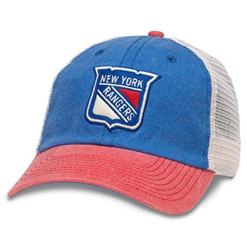 American Needle Hanover NHL Team Mesh Hat, New York Rangers, Ivory/Royal/Red (43352A-NYR)