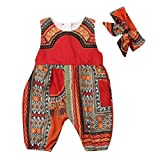 2Pcs Toddler Baby Girls Summer Outfits Sleeveless Romper with Zipper African Dashiki Print Jumpsuits + Headband (Red, 1-2 Years)