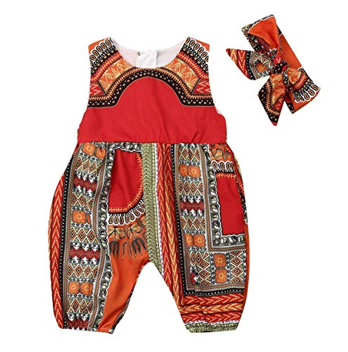 2Pcs Toddler Baby Girls Summer Outfits Sleeveless Romper with Zipper African Dashiki Print Jumpsuits + Headband (Red, 6-12M)