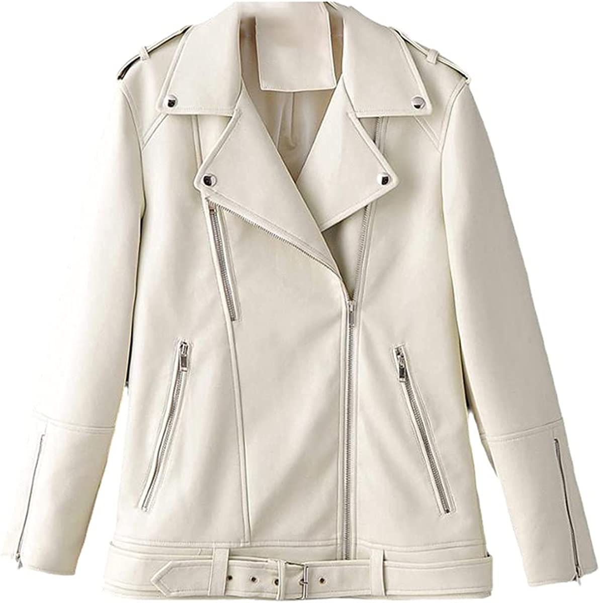 Autumn Women's Faux Leather Jacket Casual Loose Soft PU Motorcycle Punk Leather Coat Zipper Rivet Jacket