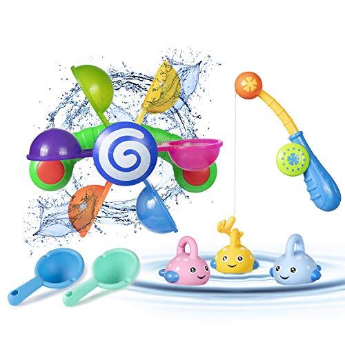 ZWOOS Badewannen Spielzeug,7 Stück Badespielzeug Bad Angeln Spielzeug,Kinder Wassermühle Badewannenspielzeug für Baby und Kleinkinder