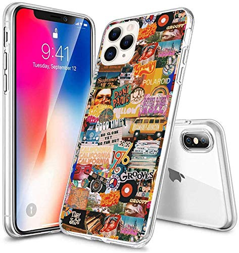 Compatible with iPhone Case Transparent Soft TPU Flexible Corver Case XR Cover 70s Vintage Vibe Collage