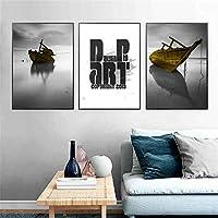 ポスターとプリント大きな壁アート抽象的なボートの風景ポスターキャンバスプリント絵画壁アートリビングルーム家の装飾-(50X70cm)X3フレームなし