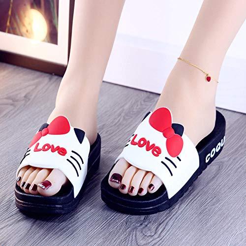TDYSDYN Chanclas Unisex Adulto,Zapatos de Plataforma con Plataforma, Sandalias de baño Antideslizantes y Zapatillas-Rojo_38
