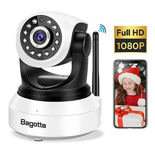 Cámara IP WiFi, Bagotte Full HD 1080P Cámara de Vigilancia Interior Inalámbrica Pan/Tilt IR Visión Nocturna Detección de Movimiento Seguridad para el Hogar/Bebé/Mascotas con Micrófono y Altavoz