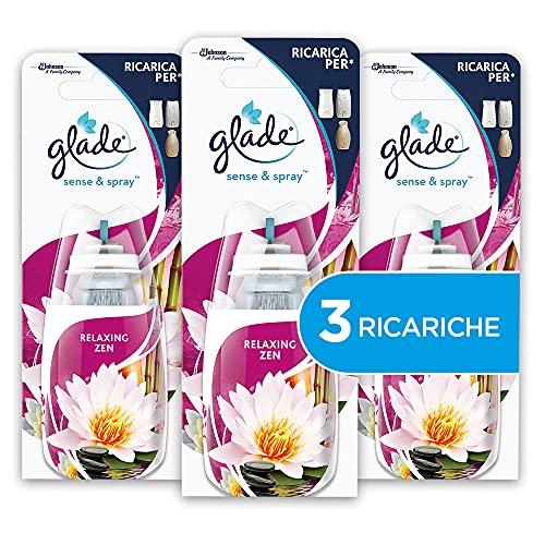 Glade Sense&Spray, Profumatori per Ambienti, Fragranza Relaxing Zen, 3 Ricariche, 18 ml