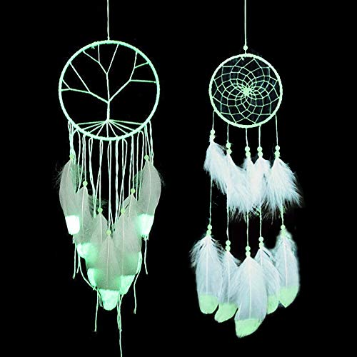 STAY GENT 2 Pack Luminous Handmade Dream Catcher for Bedroom Wall Hanging Decorations Ornaments Craft, Night Luminescence