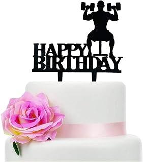 Black Acrylic Dumbbells Happy Birthday Cake Topper, Sports Theme Birthday Cake Topper (Dumbbells)