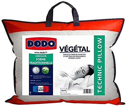 Dodo 82293 Oreiller Végétal en Mousse à Mémoire de Forme Blanc 45/70 cm