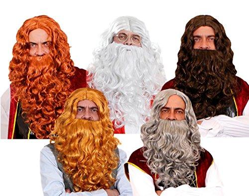 DWARF - Peluca de pelo y barba para disfraz de fresa rubia media de la pelcula de tierra media (barba y peluca rubia)