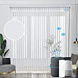 Graywind Motorized Vertical Blinds Compatible with Alexa Google Privacy Reversible Blackout Smart Vertical Blind Remote Control Track Slats Set for Patio Sliding Glass Doors (White)