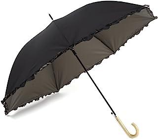 【晴雨兼用・ジャンプ傘・Lサイズ】 紫外線遮蔽率99%以上 UPF50+ UVカット日傘 生地裏カラーコーティング×軽くて丈夫なグラスファイバー骨 フリル付 白木手元 60cm (ダークグレー)