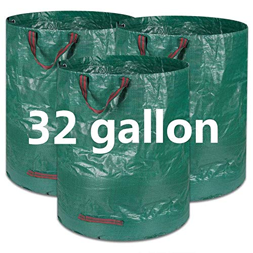 COCOCKA 3-Pack 32 Gallons Reusable Garden Waste Bags(H30,D18 inches)- Heavy Duty Gardening Bags, Lawn Bags,Reusable Trash Can,Leaf Bags,Yard Waste Bags with 4 handles