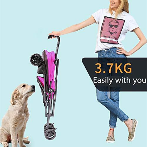 Zhengowen Kinderwagen für kleine Hunde Katzen Pet Stroller Katze-Welpen-Kinderwagen Easy Fast Folding Vierrädrige Außen Reisen installiere Pet Vierradwagen (Farbe : Rose red, Size : 65x42x94cm)