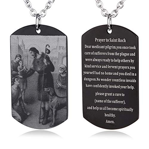 FAYERXL Catholic Faith Gift Prayer to Saint Roch Bible Verse Dog Tag Necklace,Prayer to St Rocco Religious Gift