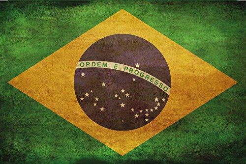 Schatzmix land vlag Brazilië nationale vlag metalen bord 20x30 cm wanddecoratie tin sign blikken bord, blik, meerkleurig