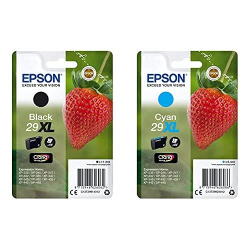 Epson C13T29914022 Cartucho de Tinta, XL +C13T29924012 Cartucho de tóner Adecuado para XP235, Paquete estándar, XL, Color Cyan válido para los Modelos Expression Home XP-235, XP-442 y Otros