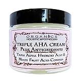 AHA Face Cream Triple Alpha Hydroxy Acid & Multi Fruit Acids Complex. Refines Texture, Pores & Wrinkles - Lactic Acid, Glycolic Acid, Citric Acid, and Malic and Tartaric Acids - Facial Moisturizer