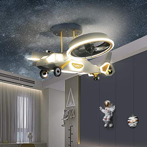 Pointhx Aircraft Ceiling Fan Technology Quiet Fan Light Children's Room Chandelier Indoor Fan LED Dimmable 3 Color Lighting 3 Speed Chandelier Decorates Home