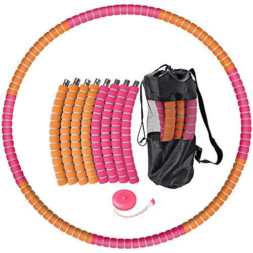 Hula Hoop Reifen Erwachsene,1KG Fitnesskreis Gewichtsverlust Schlankheits Kreis Verbesserter Edelstahlkern mit Dicker Premium Schaumstoff, 6 Abnehmbare Hula-Hoop-Reifen mit Mini Bandmaß (Orange Rot)