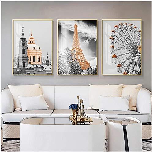 DLFALG Ciudad paisaje lienzo cartel flor caballo bailarín arte de la pared pintura carteles nórdicos e impresiones cuadros de pared para la decoración de la sala de estar 40x60cmx3 sin marco