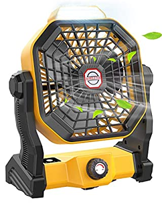 Portable Camping Fan with LED Lantern, 10400mAh Outdoor Tent Fan Portable Fan Rechargeable, 270°Head Rotation and Quiet Battery Operated Powered USB Fan for Picnic, Barbecue, Fishing, Travel from