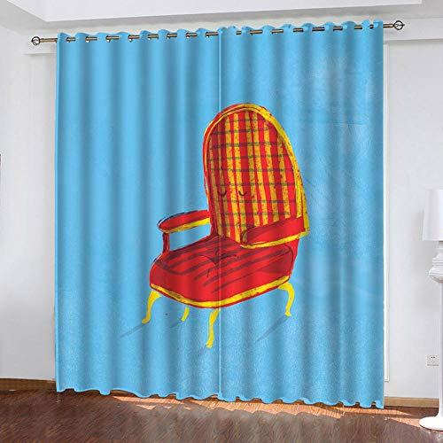 MQWEMJ Cortinas Opacas, Silla Rojo Amarillo Azul Cortina 3D Impreso, Poliéster, Balcón Sala De Estar Dormitorio Ruido Cortinas Cortina de Aislamiento térmico 110x215cm x2