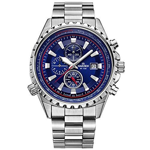 AKZEN Mens Luxury Chronograph Multifunktions-Leuchtende Japanische Quarz-Armbanduhren mit 10Bar wasserdichte Tauch-Edelstahl-Analoguhr (Blue)
