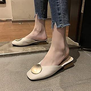 Women Slippers Flat Casual Shoes Slides Wooden Heel Summer Half Slippers Elegant Ladies Office Shoes Ladies Casual Comfy Slippers (Color : Apricot, Shoe Size : 37)