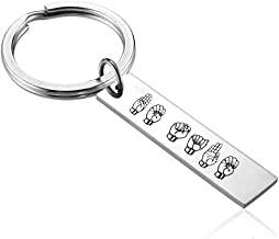 Stainless Steel Personalized ASL Keychain Custom Sign Language Deaf Jewelry Interpreter Gift