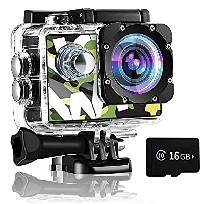 Gnolkee 4K WiFi Action Camera 16GB TF Card,16MP Underwater Video Camera 170 Wide Angle Sports Cam with Remote, 2 Batteries, 24 Accessories Mounting Kit - 20 Pack by GNOLKEE