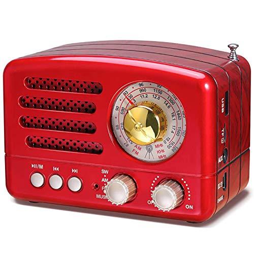 WUBAILI Radio Retro Portátil con Bluetooth, Reproductor De Casetes De Radio Y Grabadora con Sintonización Analógica De Radio Am FM SW, Entrada AUX USB Micro-SD TF,Rojo