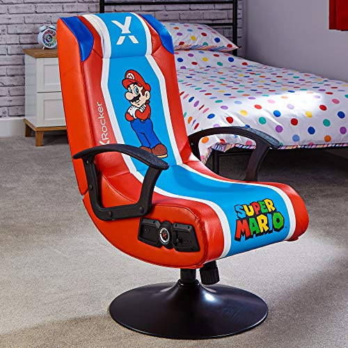 X-Rocker Officially Licensed Nintendo Super Mario Gaming Chair, Pedestal Folding Chair with 2.1 Audio Built-In – Mario
