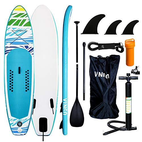 VINGO SUP Aufblasbares Stand up Paddle Board Set Ideal für Einsteiger, mit Pumpe, 3-TLG verstellbares Paddle, Tragetasche, Sicherungsleine, Reparaturset(320 * 76 * 15cm)