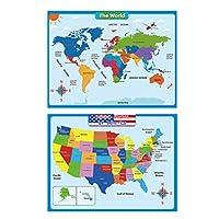 TOYANDONA アメリカと子供のための米国と世界の世界地図と米国地図の壁グラフポスター2枚