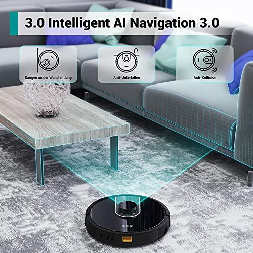 Zigma Saugroboter, Saugroboter mit Wischfunktion, 2.4G WLAN Staubsauger Roboter mit intelligenter Navigation, APP- & Siri- & Alexa-Steuerung, 600ml Staubbehälter, 360ml Wassertank, für mehrere Etagen