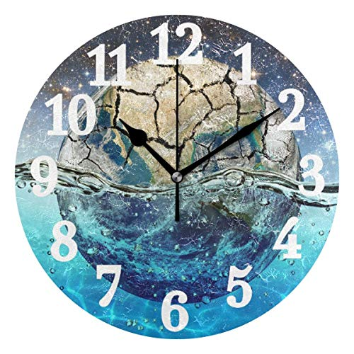 Round Wall Clock Planet Earth in Water Starry Home Art Decor Non-Ticking Numeral Clock for Home...