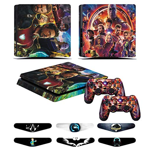 PS4 Slim Skins - Decals for PS4 Controller Playstation 4 Slim - Stickers Cover for PS4 Slim Controller Sony Playstation Four Slim Accessories with Dualshock 4 Two Controllers Skin - Ironman