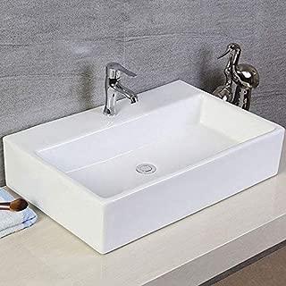 White Rectangle Ceramic Bathroom Kitchen Vessel Sink Porcelain Vanity Above Counter Basin Bowl (Cl-1099)