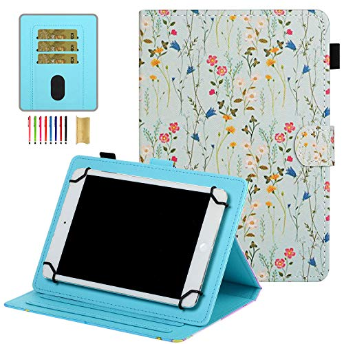 7 inch Universal Tablet Cover, APOLL Anti-Scratch Flower Series Slim Stand Case for Samsung Tab 7.0 T280/T110/T210/for Voyager 7'/for Mediapad 7.0 and All 6.5-7.5' Android Windows Tablet, Floral