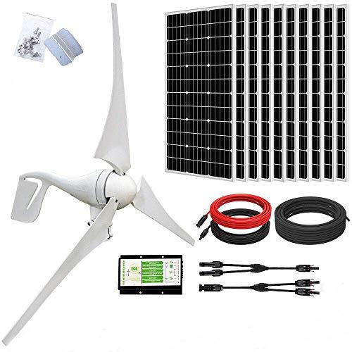 ECO-WORTHY 1400 W fuera de la red solar y sistema de viento kits de carga: generador de turbina de viento de 400 vatios con controlador de carga Hybird + 10 paneles solares mono de 100 W