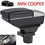 for Mini Cooper Coupe Armrest Console Center Storage Box with Base Cup Holder Ashtray (All Black, Single Layer)