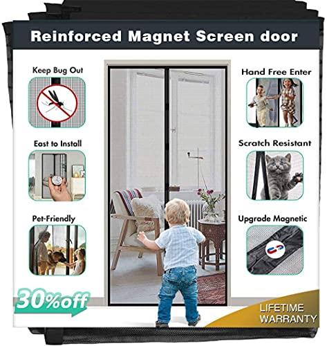 [Upgrade Version] Magnetic Screen Door, IKSTAR Fiberglass Mesh Door Instant Closure with Full Frame Hook&Loop, Keep Fly/Bugs Out, Pet/Kids Walk Through Freely, Fit Doors Up to 36