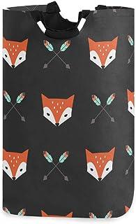 QMIN Panier à linge pliable - Grand sac de rangement avec poignée - Motif renard et flèches