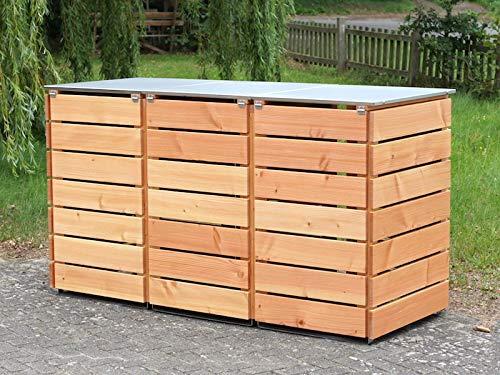 3er Mülltonnenbox / Mülltonnenverkleidung 240 L Holz, Deckend Geölt Nordisch Rot - 4