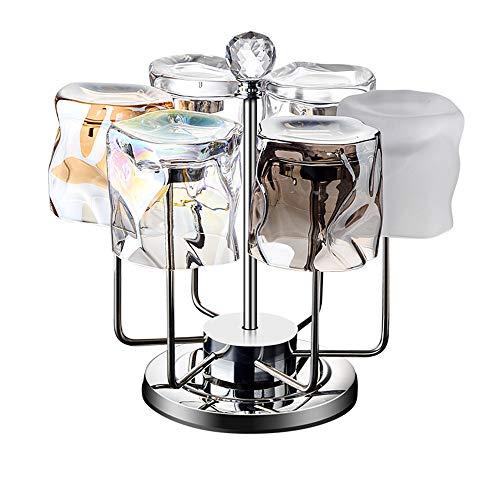 N / C Juego de Tazas de Agua de 6 Piezas, Vidrio Resistente al frío y al Calor, Fondo Transparente y Grueso, Adecuado para el hogar y la Oficina