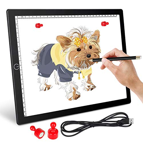 Light Board for Tracing, A4 Led Light Pad, Honesorn Light Box for Weeding Vinyl, Tracing, Drawing, Sketching, Diamond Painting, Dimmable Drawing Board for Artists, Kids, Magnet Included